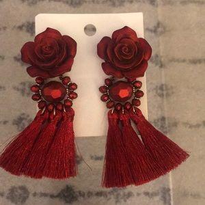 H&M Red flower tassel earrings